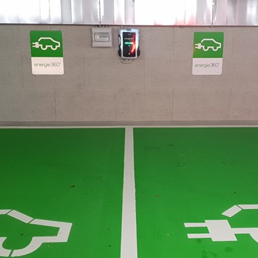 Electric car charging station in our garage parking